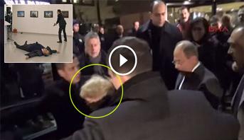 فيديو .. لحظة إجلاء زوجة السفير الروسي في أنقرة من موقع الهجوم عليه