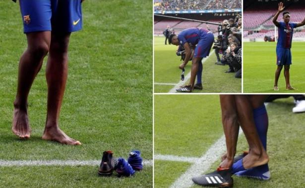 لماذا خلع مينا حذائه خلال تقديمه لجماهير البارصا؟