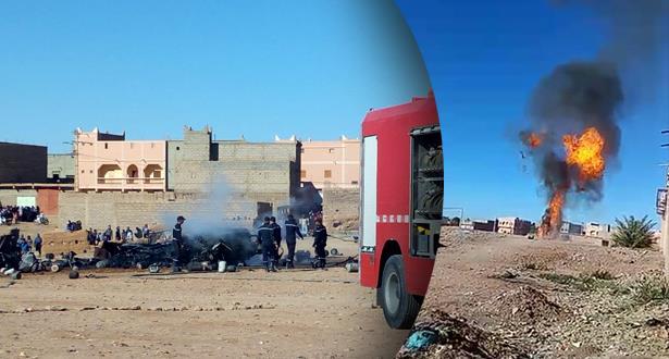 احتراق شاحنة مُحملة بقنينات الغاز بإقليم زاكورة